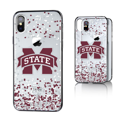 MS Mississippi State Bulldogs Confetti Clear Case for iPhone X