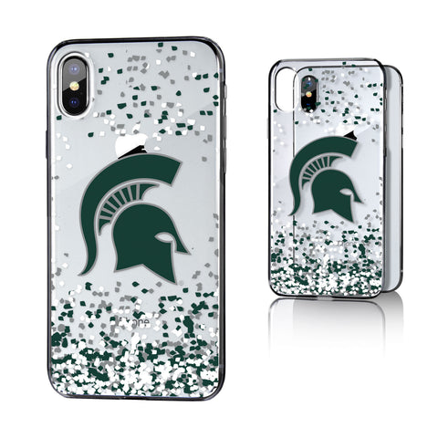 MSU Michigan State Spartans Confetti Clear Case for iPhone X