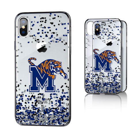U of M Memphis Tigers Confetti Clear Case for iPhone X