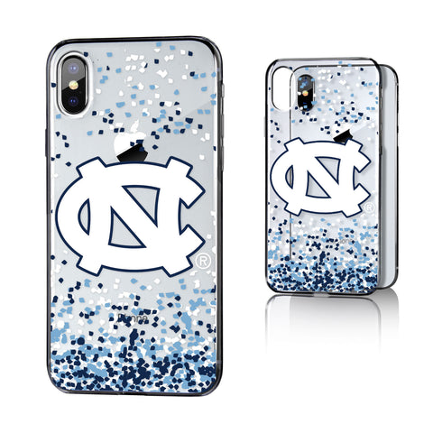 UNC North Carolina Tar Heels Confetti Clear Case for iPhone X