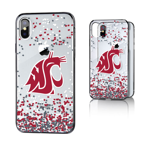 WSU Washington State Cougars Confetti Clear Case for iPhone X