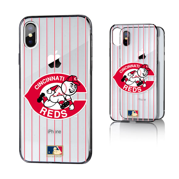 Cincinnati Reds 1978-1992 - Cooperstown Collection Pinstripe iPhone X / XS Clear Case