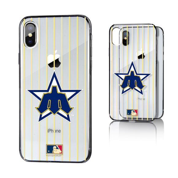 Seattle Mariners 1981-1986 - Cooperstown Collection Pinstripe iPhone X / XS Clear Case
