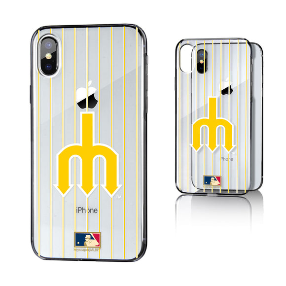 Seattle Mariners 1977-1980 - Cooperstown Collection Pinstripe iPhone X / XS Clear Case