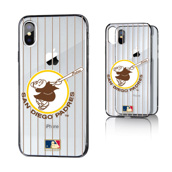 San Diego Padres 1969-1984 - Cooperstown Collection Pinstripe iPhone X / XS Clear Case