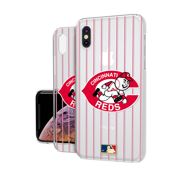 Cincinnati Reds 1978-1992 - Cooperstown Collection Pinstripe iPhone XS Max Clear Case