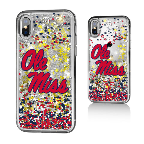 UM Mississippi Ole Miss Rebels Confetti Glitter Case for iPhone X