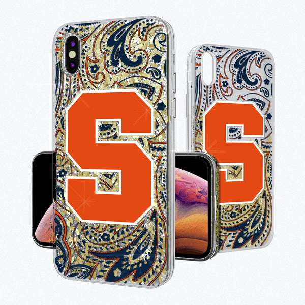 Syracuse Orange Paisley iPhone XS MAX Gold Glitter Case