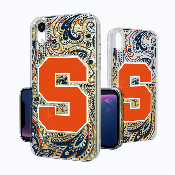 Syracuse Orange Paisley iPhone XR Gold Glitter Case