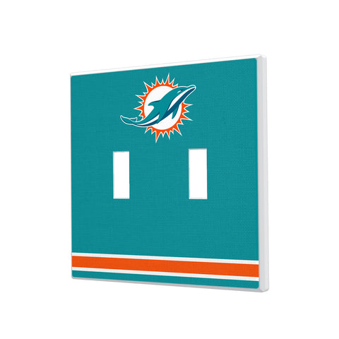 Miami Dolphins Stripe Hidden-Screw Light Switch Plate - Double Toggle