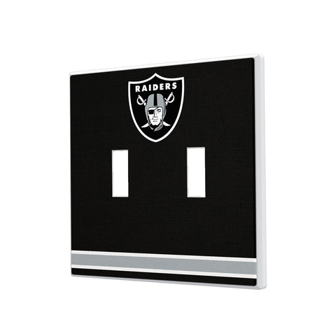 Oakland Raiders Stripe Hidden-Screw Light Switch Plate - Double Toggle