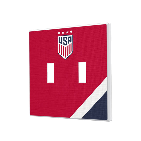 United States Womens National Team Diagonal Stripe Hidden-Screw Light Switch Plate - Double Toggle
