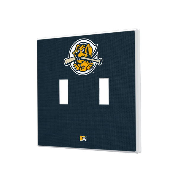 Charleston RiverDogs Solid Hidden-Screw Light Switch Plate - Double Toggle