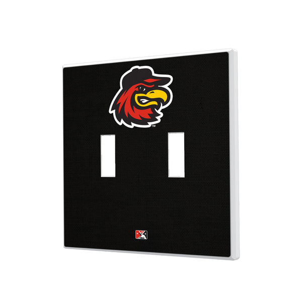 Rochester Red Wings Solid Hidden-Screw Light Switch Plate - Double Toggle