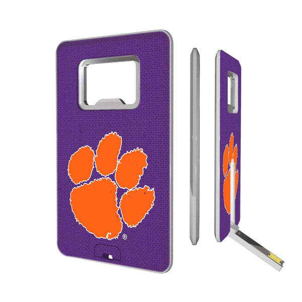 Clemson Tigers Solid Credit Card USB Drive with Bottle Opener 16GB