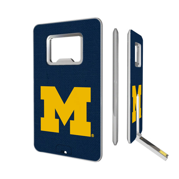 Michigan Wolverines Solid Credit Card USB Drive with Bottle Opener 16GB