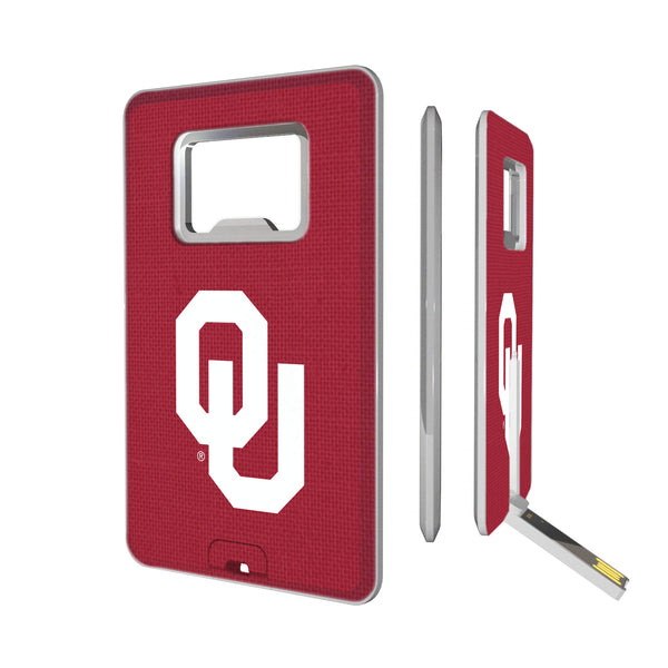 Oklahoma Sooners Solid Credit Card USB Drive with Bottle Opener 16GB