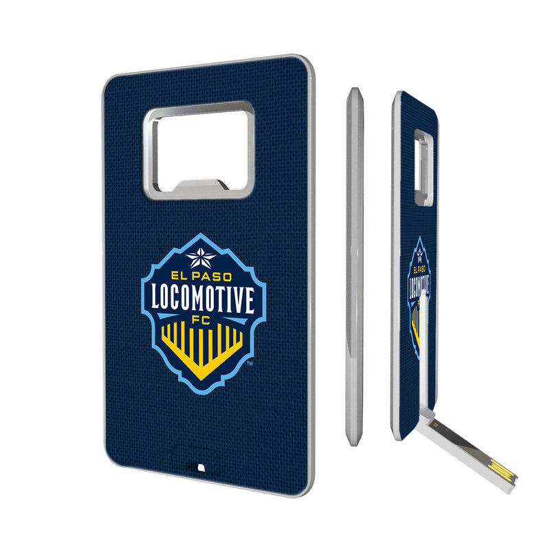 El Paso Locomotive FC  Solid Credit Card USB Drive with Bottle Opener 16GB