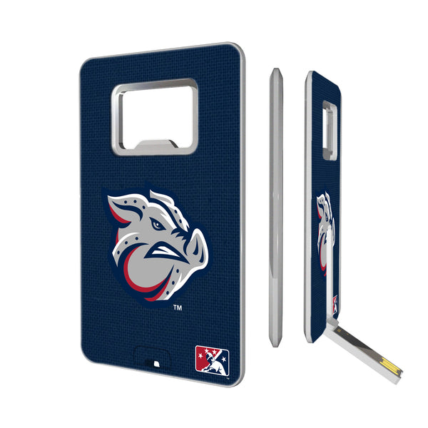 Lehigh Valley IronPigs Solid Credit Card USB Drive with Bottle Opener 16GB