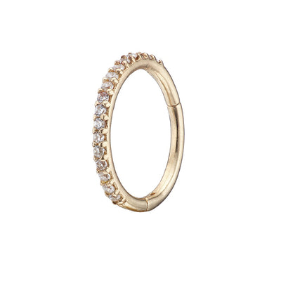 Solid Gold 14K CZ Eternity Ring Clicker Cartilage Jewellery Irish Jewellery Online Loinnir