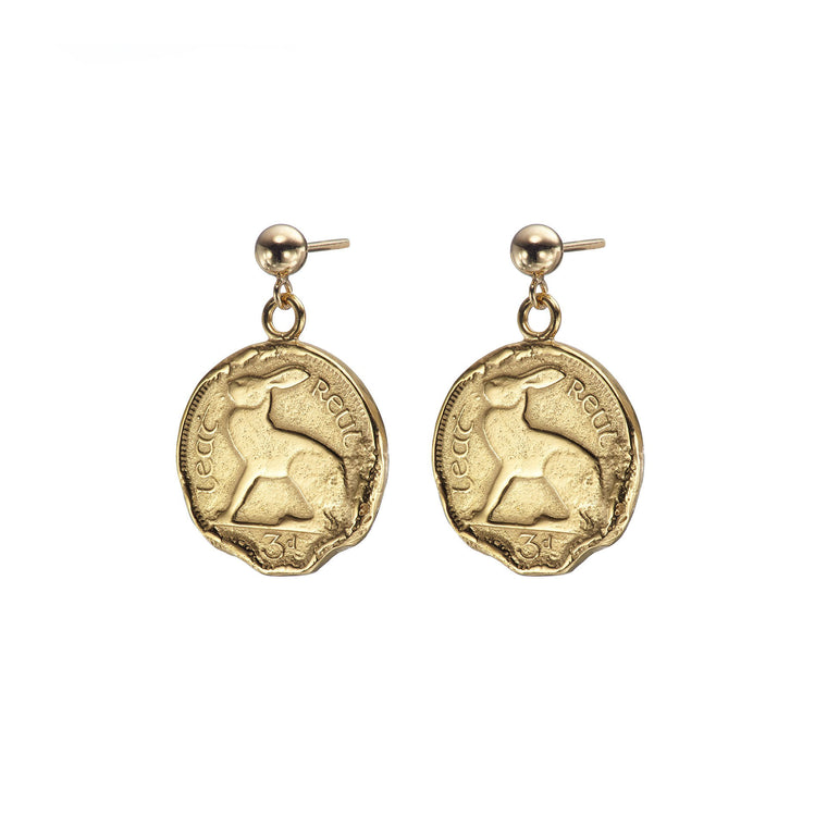 Gold Plated Hare 3 Pence Coin Drop Earrings