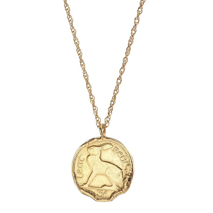 Gold Plated Hare 3 Pence Coin Necklace Irish Jewellery Design | Loinnir