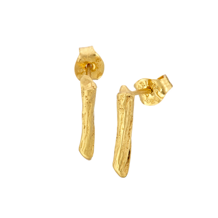 Gold Plated Irish Shrubbery Stud Earrings