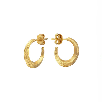 Gold Plated Torc Mini Detailed Hoop Earrings Jewellery Online Ireland | Loinnir