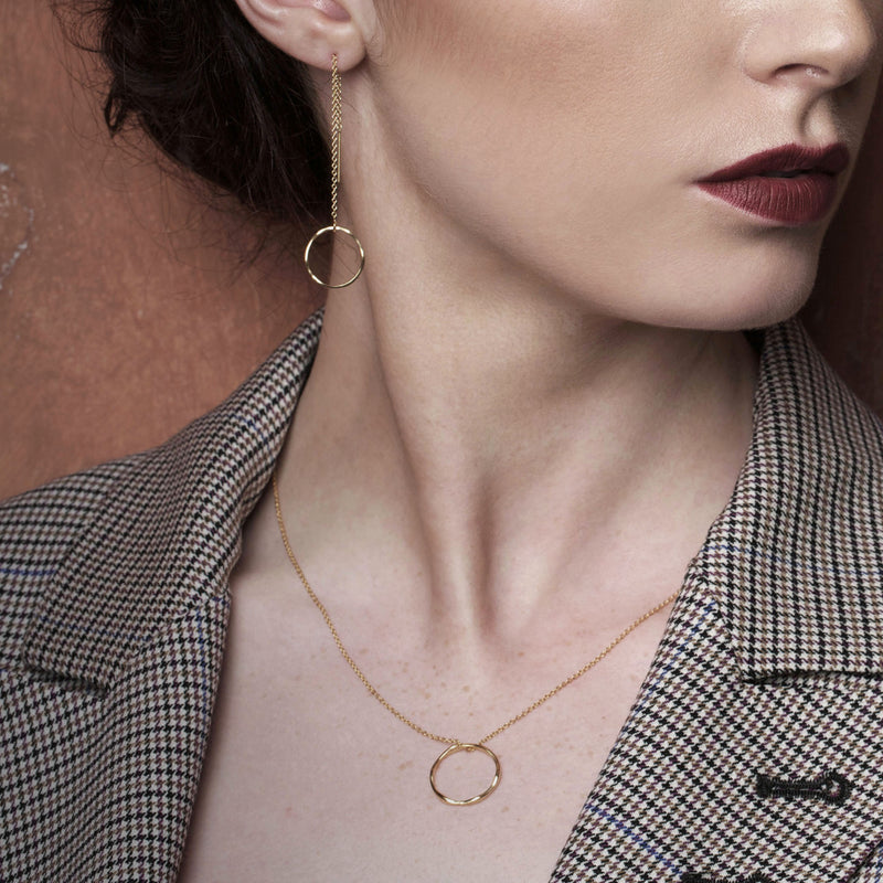 Gold Plated Tumulus Threader Earrings Irish Jewellery Designer Loinnir