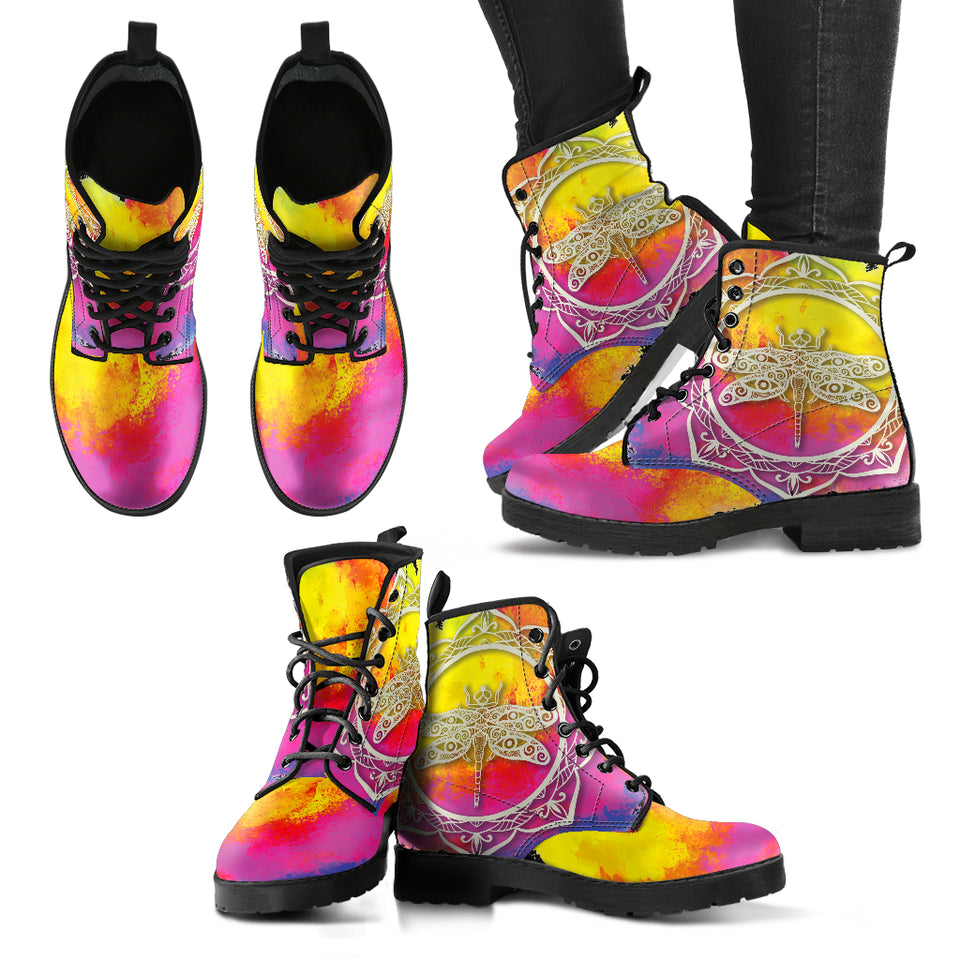 Watercolor Dragonfly Mandala Women's Leather Boots