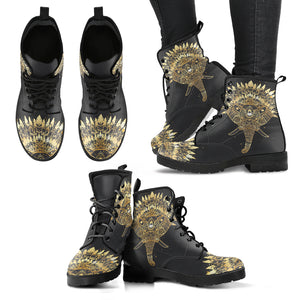 Elephant with Feather Women's Leather Boots