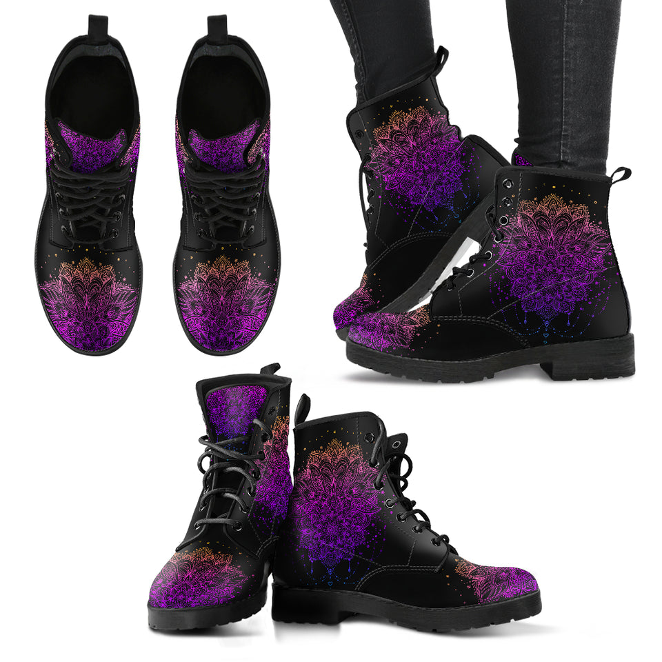 Ornamental Lotus Flower Women's Leather Boots