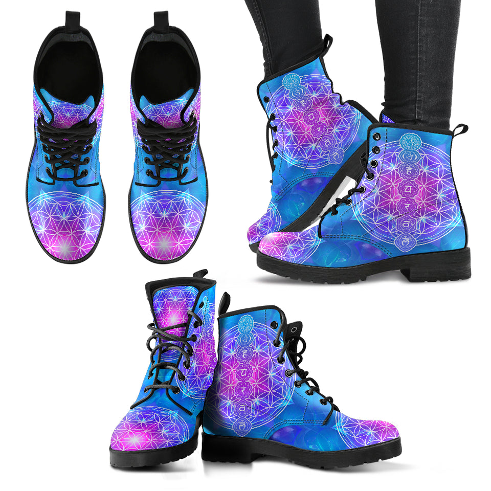 Flower of Life Chakra Women's Leather Boots