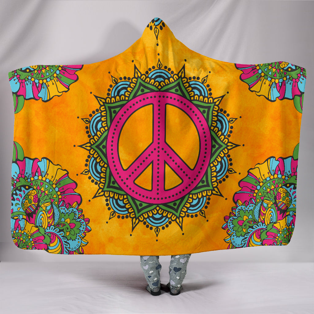 Orange Peace Hoodie Blanket