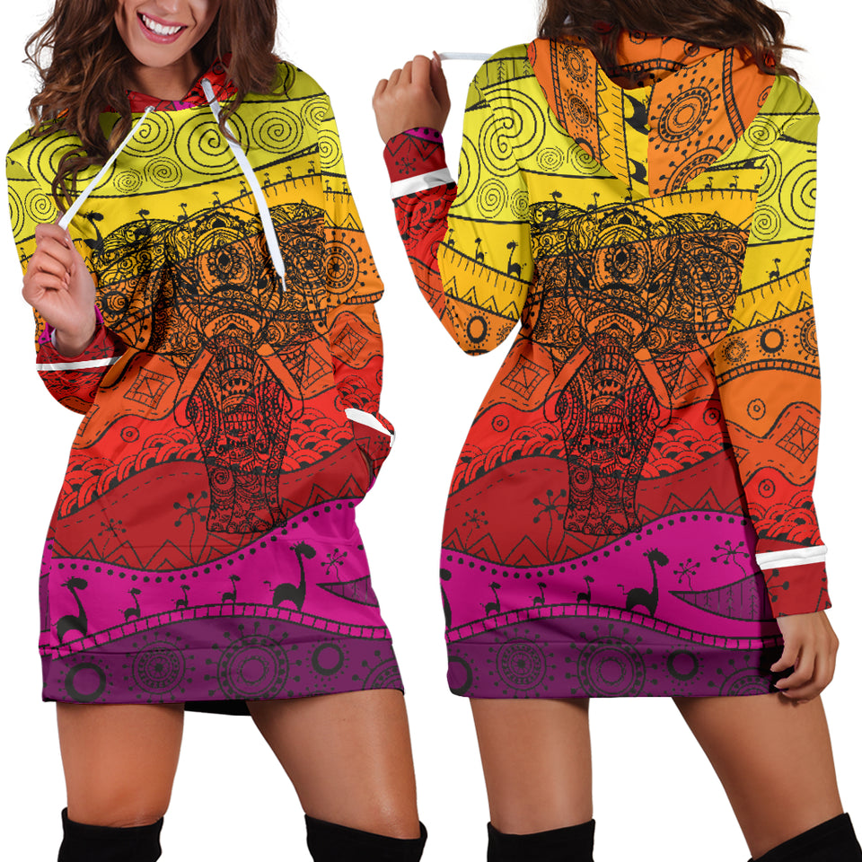 Boho Elephant Women's Hoodie Dress
