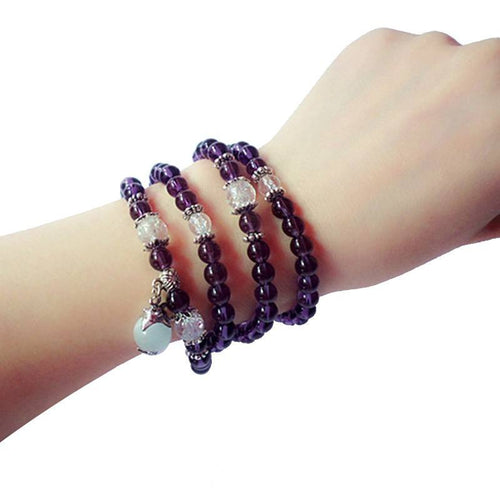 108 Amethyst Beads Mala Bracelet/Necklace - Hilltop Apparel - 1