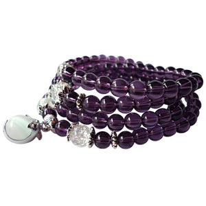 108 Amethyst Beads Mala Bracelet/Necklace - Hilltop Apparel - 2