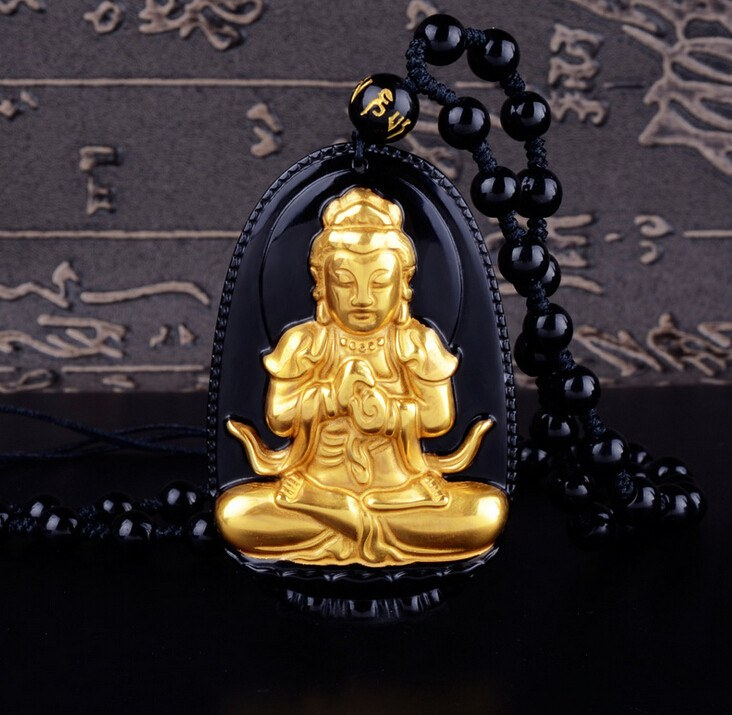 18K Gold Plated Carved Buddha on Black Obsidian Stone With Beads Necklace. 36
