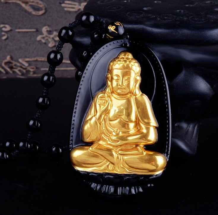"18K Gold Plated Carved Buddha on Black Obsidian Stone With Beads Necklace. 36"" Long. 4 Options. - Hilltop Apparel - 2"