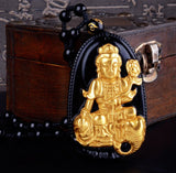 "18K Gold Plated Carved Buddha on Black Obsidian Stone With Beads Necklace. 36"" Long. 4 Options. - Hilltop Apparel - 3"