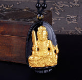 "18K Gold Plated Carved Buddha on Black Obsidian Stone With Beads Necklace. 36"" Long. 4 Options. - Hilltop Apparel - 4"