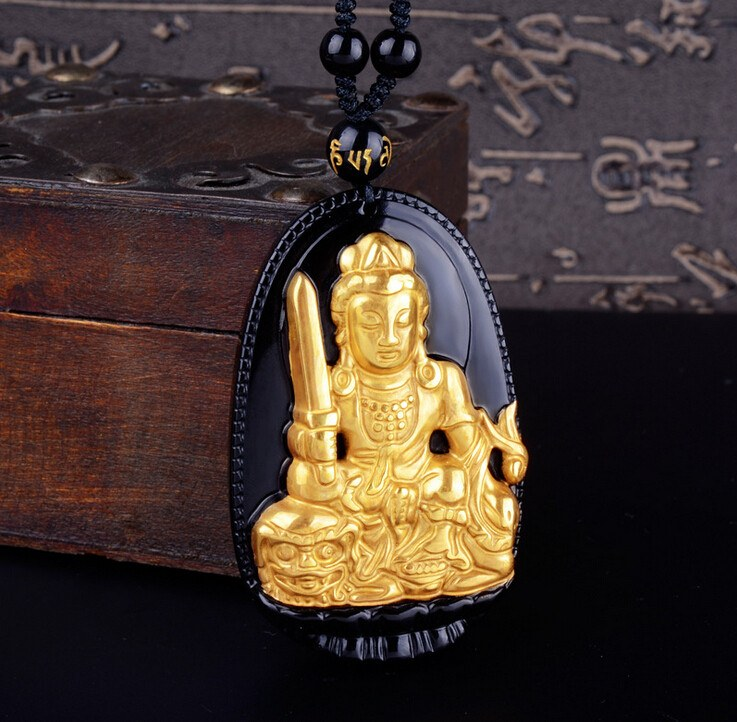 18K Gold Plated Carved Buddha on Black Obsidian Stone With Beads Necklaces. 4 Options. - Hilltop Apparel - 4