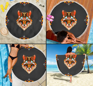 Wolf Abstract Beach Blanket
