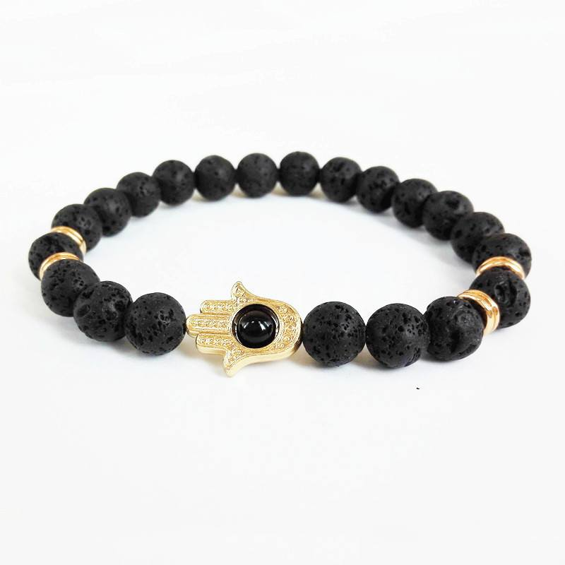 24K Gold Plated 8mm Black Lava Energy Stone Bracelet. - Hilltop Apparel