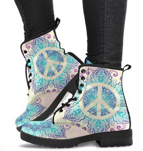 Peace and Mandala Women's Leather Boots