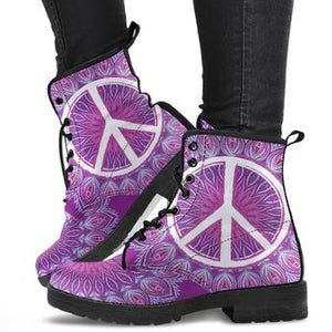Peace Mandala Women's Leather Boots