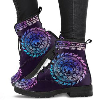 Colorful Elephant Women's Leather Boots