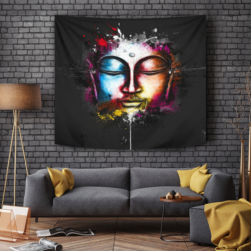 Abstract Buddha Face Tapestry