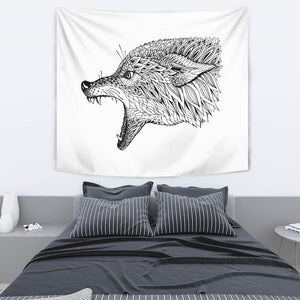 Abstract Zen Wolf Tapestry