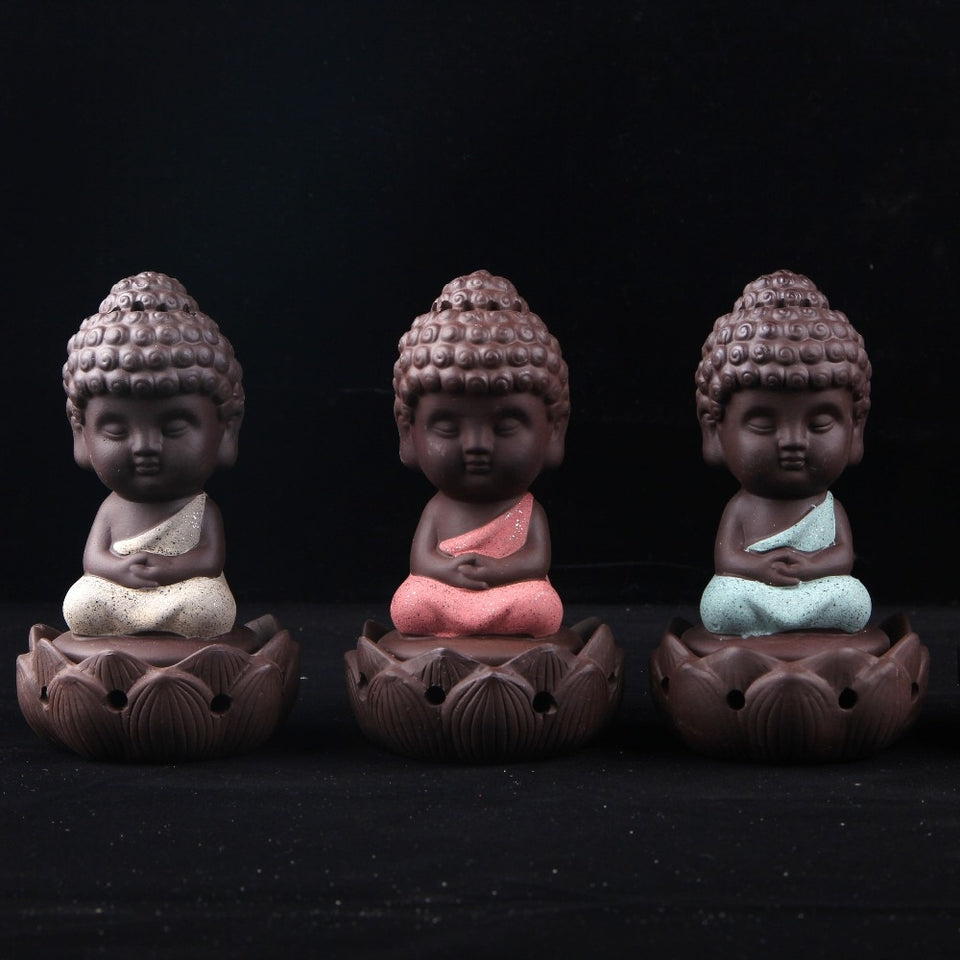 Buddha Statue Sand Ceramic Incense Burner